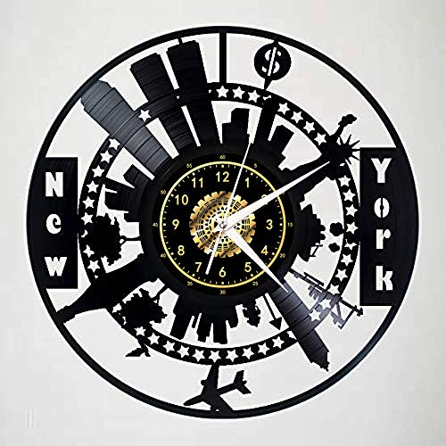 CNLSZM Orologio da Parete in Vinile Creativo Orologio da Parete in Vinile retrò 3D New York Art Clock Decorazione Domestica Muta in Stile Europeo-No LED