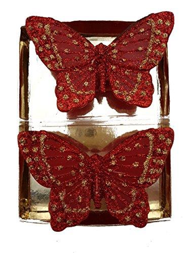 Velas unidades de 2piezas Mariposa Roja Navidad de cera Rojo Decoración Navidad velas 9,5x 6cm