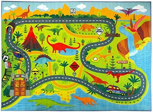 KC CUBS Playtime Collection Dinosaur Dino Safari Road Map Educational Learning & Game Tappeto...
