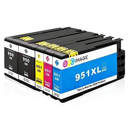 GPC Image 950 951 XL Kompatible Patronen für HP 950XL 951XL Multipack für HP Officejet Pro 8600 8610 8620 8100 8615 276dw 251dw 8625 8630 8640 Druckerpatronen (2 Schwarz,1 Cyan,1 Magenta,1 Gelb)5 Pack