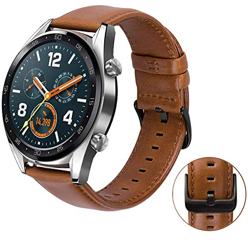 MroTech Cinturino per Huawei Watch GT/GT Active/GT Elegant Smartwatch -22mm Cinturini di Ricambio in Pelle compatibile per Samsung Gear S3 / Galaxy Watch 46mm Banda Marrone con Fibbia di Metallo nero