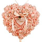 Dontdo finta perla rosa a forma di cuore anello box contenitore proporre matrimonio di, Ivory, taglia unica