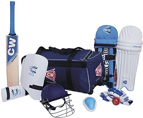 CW Lefty Academy Kashmir Willow with Wheel Bag and Helmet Batting Complete Cricket Set for Full Size for Senior 13 and Above Yrs