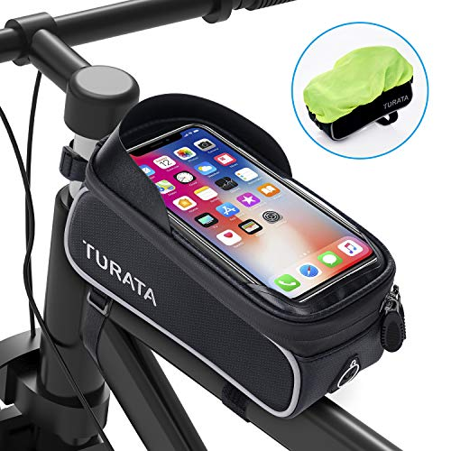 TURATA Fahrrad Rahmentasche Wasserdicht Fahrradtasche Lenkertasche Handyhalterung Handyhalter Handytasche Oberrohrtasche mit Kopfhörerloch Reflektierend für Smartphone unter 6,5 Zoll