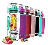 Fruit Infuser Water Bottle 32oz Durable with Detachable Ice Gel Ball, Large - BPA Free Tritan, Flip Lid, Leak Proof Design - Sports, Camping (Mint)