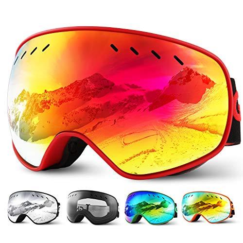 Glymnis Maschera da Sci Occhiali da Sci OTG Super-grandangolo Occhiali da Snowboard e Staccabile...