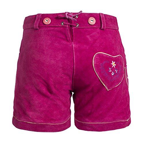 Damen Trachten Lederhose m. Trägern Pink Größe 38 -