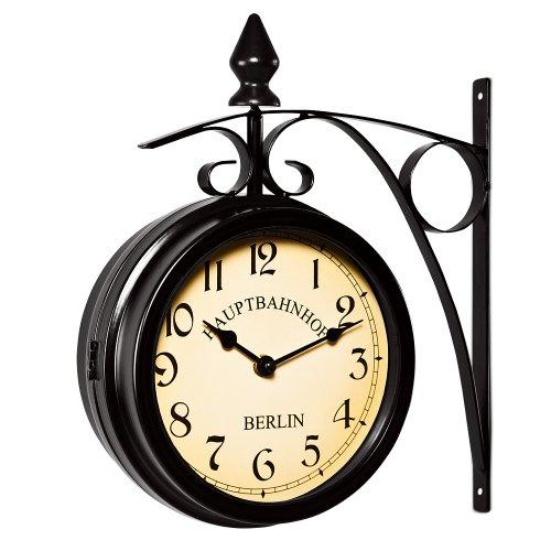 Orologio da parete stile industriale bifacciale - Orologio da muro stile vintage retrò Stazione...