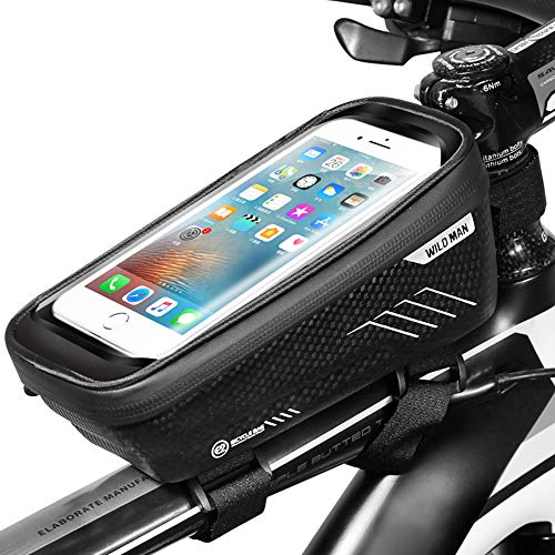 ENONEO Bolsa Movil Bicicleta Bolsa Manillar Bicicleta Impermeable con Pantalla Táctil Sensible Bolsa Tubo Bicicleta para iPhone X/XS Max/XR/8/8 Plus/Samsung S9/S8 Telefono 6,6 Pulgadas (Negro)