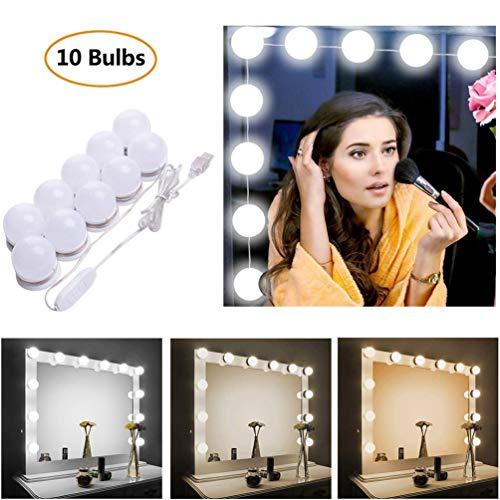 STN Luci Da Specchio, Kit Luci per Specchio Stile Hollywood 10 Lampadine LED Dimmerabili Lampada da...