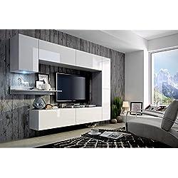 FUTURE 6 Moderne Wohnwand, Exklusive Mediamöbel, TV-Schrank, Neue Garnitur, Große Farbauswahl (RGB LED-Beleuchtung Verfügbar) (Weiß MAT base / Weiß HG front, RGB)