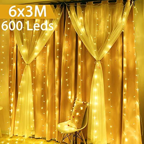 Luci a LED per Tende 6m x 3m, GlobaLink 600 LED 8 Modalità di Luce, Funzione Memoria, IP44...