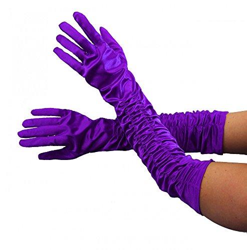 Foxxeo 1002X - Guanti da donna lunghi, colore nero, bianco, rosso, rosa, viola, giallo, grigio,...
