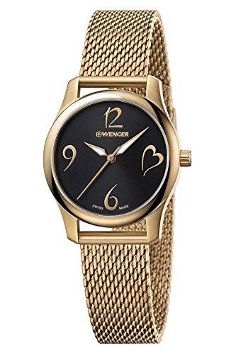 Wenger Damen Analog Quarz Uhr mit Edelstahl Armband 01.1421.110