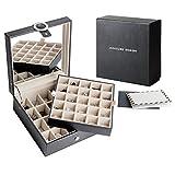 JackCubeDesign in pelle con 45 fessure orecchino organizzatore scatola di immagazzinaggio display con specchio allinterno di velluto sezione scomparti divisore portagioie supporto per gioielli (nero, 21,6 x 21,6 x 9,1 cm)  : MK355A