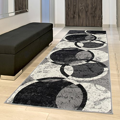 TAPISO Tappeto Passatoia Dream Camera Corridoio Salotto Moderno Cucina Nero Geometrico Cerchio 80 x...