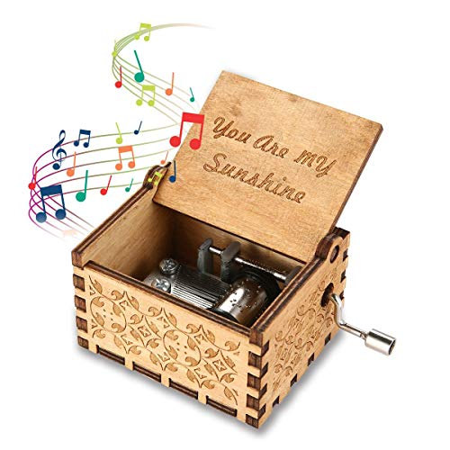 Womdee Music Box You are My Sunshine Theme, Wooden Classic Music Box Crafts with Hand Crank, 18 Note Mechanism Antique Carved Musical Box Gifts for Kids/Freinds/Adults