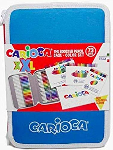 CARIOCA ASTUCCIO XXL | Astuccio 2 Scomparti con Materiale Scolastico, Album da Colorare, Rosa, 72...
