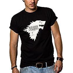 Camisetas Negras Hombre - WINTER IS COMING - Juego de Tronos L