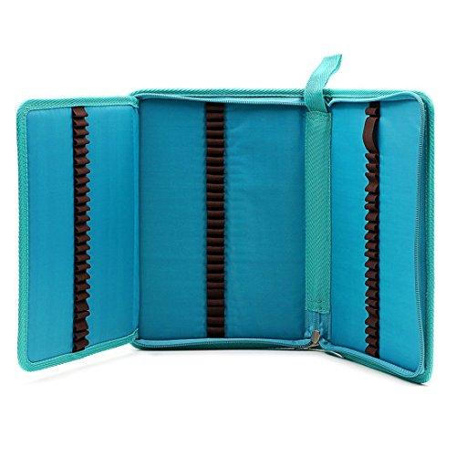 Zhengdu - Astuccio portatile per 72 matite colorate, in tela, con cerniera Blue