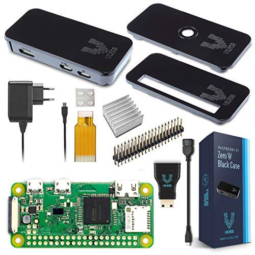 V-Kits Raspberry Pi Zero W Basic Kit con cover nera premium, edizione con spina UE