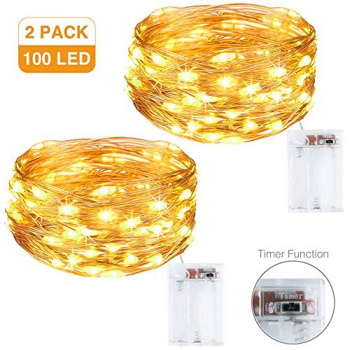 Litogo Luci LED Batteria [2 Pezzi], [Timer] Catena Luminosa 10m 100 LED Filo Rame Ghirlanda Luminosa...