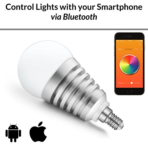 Mansaa SmartShine - Bluetooth Wireless Smart LED Bulb - (9W, E14, Silver Body)