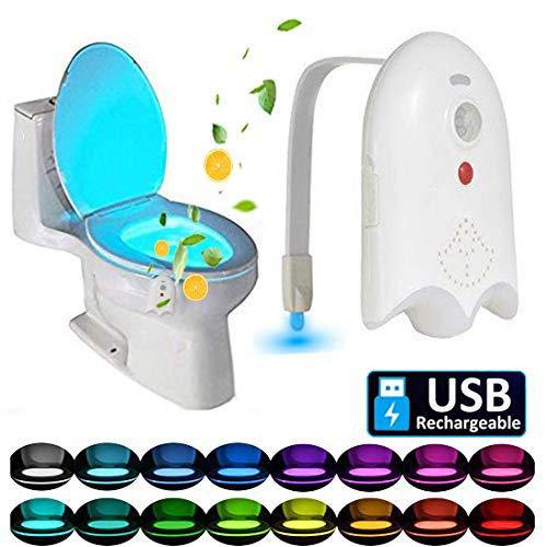 Caxmtu - Luce LED per WC con rilevazione di movimento, 16 colori, luce notturna da tramonto...