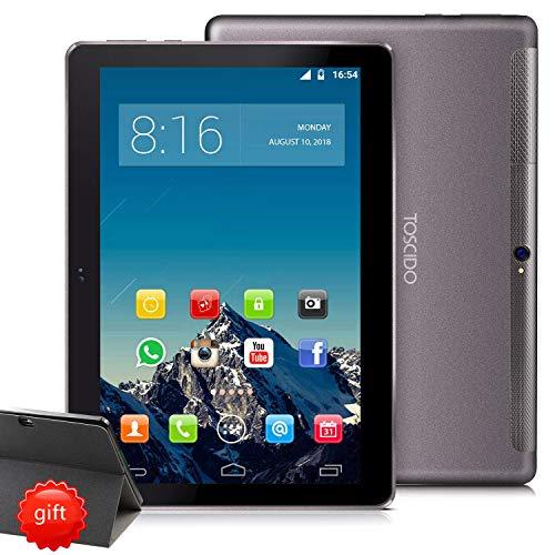 TOSCIDO 4G LTE Tablet 10 Zoll 1920*1200 IP HD- Android 9.0 Zertifiziert von Google GMS,6GB RAM,128GB ROM ,Octa Core 2 GHz CPU schnelle Geschwindigkeit,Dual SIM,WiFi,Dual Stereo Lautsprecher - Grau