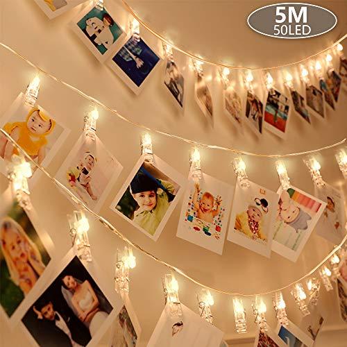 Anpro 50 LED con Mollette per Foto Striscia Luci Portafoto con 8 Modalità di Illuminazione...