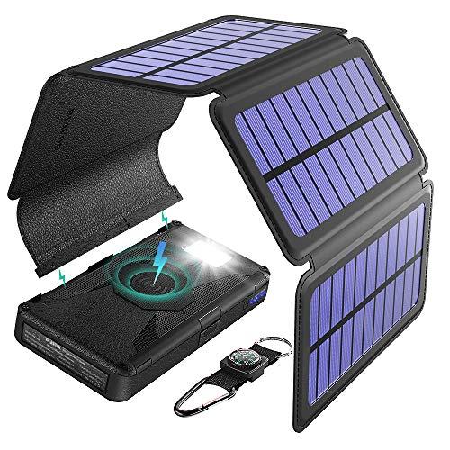 BLAVOR Caricabatterie Solare, 20000mAh Qi Wireless Power Bank Portatile con 5 Pannelli Solari...
