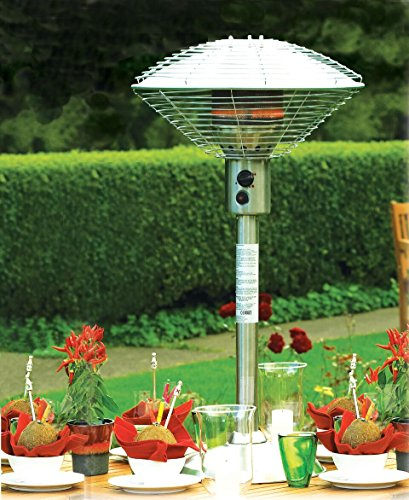 Do you need a table top patio heater that comes with its own hose and regulator? Well, look no further than the Sahara 4kw Gas Table Top outdoor patio heater. The 52 x 52 x 96 cm unit is equipped with adjustable heat settings so that the user can select the preferred temperature. The heat settings also come in handy when you are trying to warm the space faster.