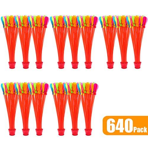 ASHUTB 640 Pack Wasserballon Selbstdichtend Einfach & Schnell Filling Wasserbomben Sommer Splash Fun Wasser Kampf Spiel für Kinder & Erwachsene (640 Pack 5 Beutel)