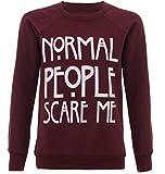 """Maglione da donna con scritta stampata in inglese """"Normal People Scare Me"""", citazione tratta dalla serie TV """"American Horror Story"""", misure da 40 a 46 (M/L), colore: vinaccia"""