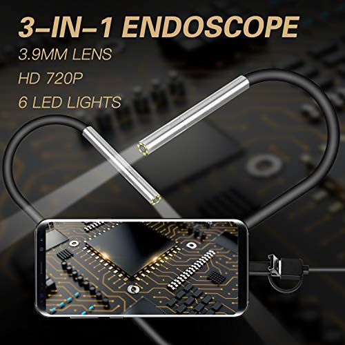 Alician AN100 Rigid Line Endoscope Camera Flexible IP67 Waterproof Inspection Borescope Camera Hard line 1 Meter