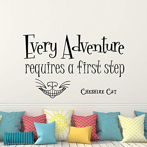 Citazione Adesivo Ogni avventura richiede parole Adesivo in vinile Cheshire Cat Nursery Kids Room...