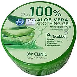 3W Clinic - XXL Aloe Vera Soothing Gel für Männer und Frauen 300 ml - 100 % Aloe Vera Creme mit After Sun Pflege gegen trockene Haut - Tagespflege - Hautpflege - Hautgel ohne Mineralöl mit Kräutern auch für den Körper geeignet - Hilft bei Sonnenbrand