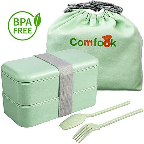 Comfook Lunch Bento Box Erwachsene Frischhaltedose Umweltfreundlich Weizenstroh-Brotdosen BPA-frei, mikrowellengeeignet, auslaufsicher Lunchbox für Arbeit, Schule, Reise
