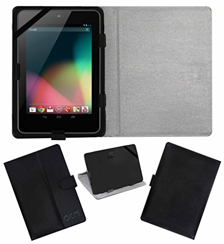 Acm Leather Flip Flap Case Compatible with Asus Google Nexus 7 2012 Tablet Cover Magnetic Closure Stand Black