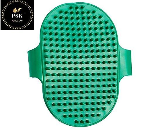 PSK Pet Dog Cat Puppy Cow Buffalo Horse Hand Bath Glove Grooming Brush Adjustable (Green)
