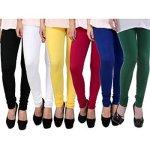 ZAKOD Women's Cotton Lycra Churidar Leggings Combo (Pack of 6)Free Size