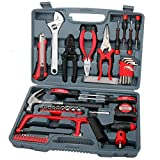 Hi-Spec 53pc Household & Garage Tool Kit including Hammer, Hack Saw, Sockets, Adjustable Spanner, Hex Keys, Wire Strippers, Pliers, Tin Snips, Hex Keys, Screw Bits and more - in Heavy Duty Case