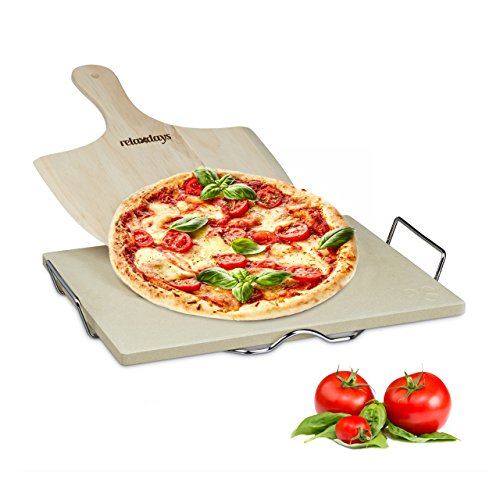 Relaxdays 10020488 Set Pizza con Pietra in Cordierite e Pala in Legno, 38 x 30 x 1.5 cm, Beige