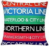 """London Underground Digital Print Colourful contemporaneo design Cotone di Chenille 16 """"X 16"""" cuscino cuscino per divano letto"""