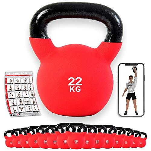 POWRX - Kettlebell ghisa 4-30 kg - Rivestimento in Neoprene & PDF Workout (22 kg)