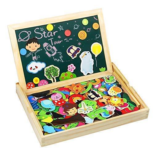 TONZE Puzzle Magnetico Legno Giocattolo di Legno Bambini con Lavagna a Double Face, Puzzle di Legno...