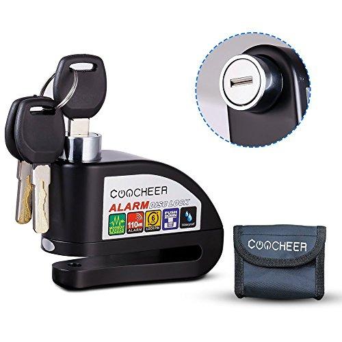 Candado Disco de Moto, Bloqueo Disco Con Alarma Hasta 110 dB Impermeable Antirrobo de Seguridad Cilindro de Clase B de 6 mm Perfecto Para Electromobile Bicicleta etc