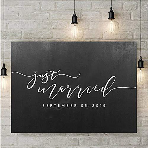 adesivo da parete Just Married Custom Date Party Sign Decal Sticker Wedding Sticker Moda moderna...