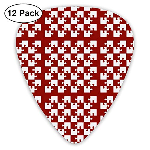 Puzzle Piece Block Grid Red White_829 Classic Celluloid Picks, 12-Pack, For Electric Guitar,...
