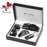 BSTcentelha Mens Artificial Leather Quartz Analog Wrist Watch Belt Keychain Sunglasses Gift Set Dark Blue Valentine's Day present gift